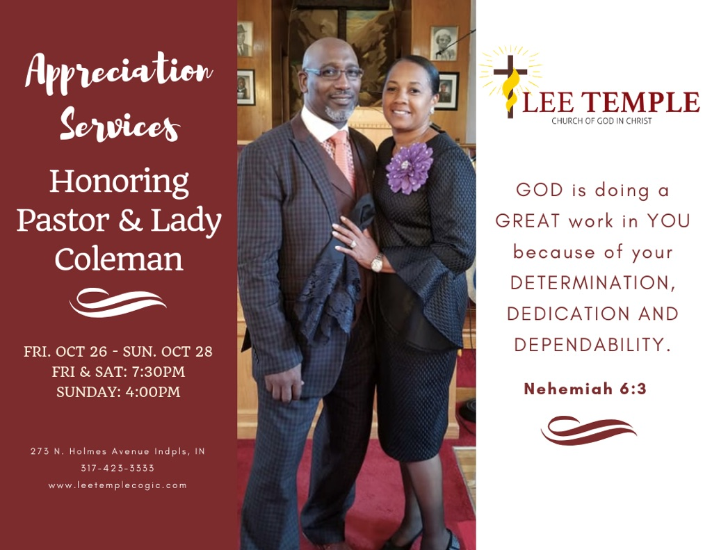 1st Annual Pastor & Wife Appreciation Service – Lee Temple COGIC
