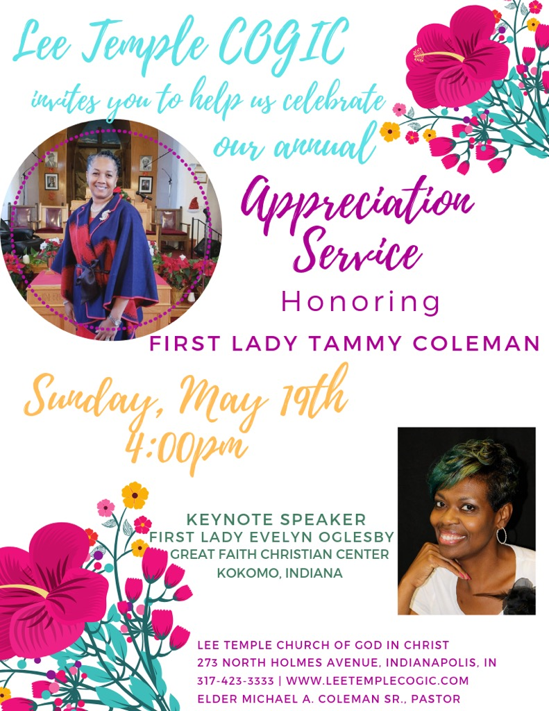 First lady Appreciation Service – Lee Temple COGIC